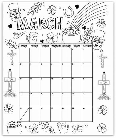 Calendar Coloring March Printable Pages January Activities