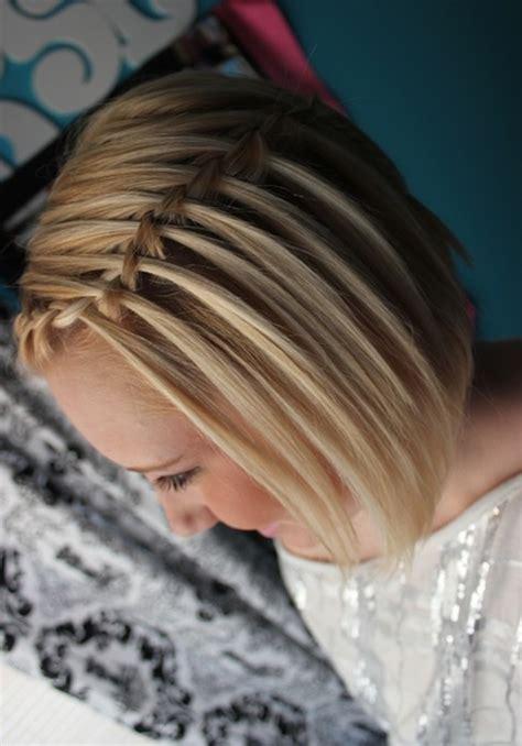 waterfall braid  short hair french braided hairstyles