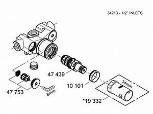 Grohe 1  2 U0026quot  Inlet Mixing Valve Spares Shower Spares And