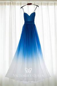 beautiful blue to white ombre chiffon strapless sweetheart