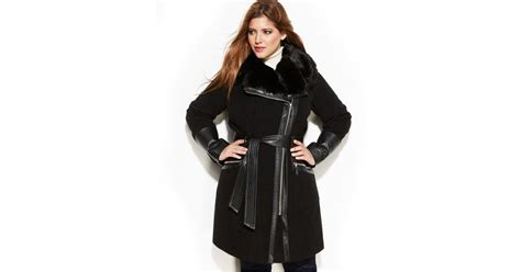 Via Spiga Plus Size Mixed Media Faux-fur-trim Belted Wool Coat In Black