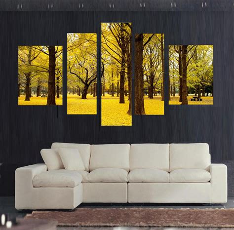 paintings for home decor free shipping 5pcs autumn scenery yellow leaves home decor