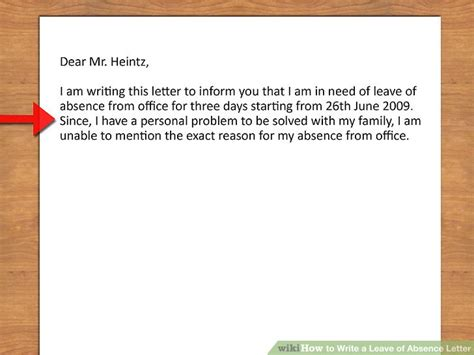 personal leave of absence letter how to write a leave of absence letter with pictures 8352