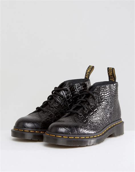 lyst dr martens church croc monkey boots  black