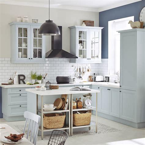meuble de cuisine bleu delinia ashford leroy merlin