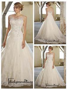 stunning a line illusion neckline back lace wedding With lace illusion neckline wedding dress