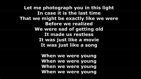 When We Were Young (lyrics/karaoke)