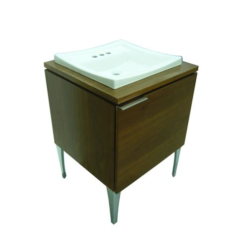 drop in sink vanity top shop style selections leander walnut drop in single sink