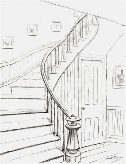 Stairs Drawing Courthouse Staircase Spiral Bottoms Stacy
