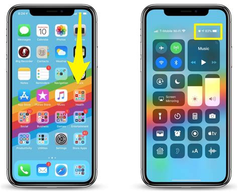 where is the battery percentage indicator on the iphone xs and iphone xs max and how can i find it