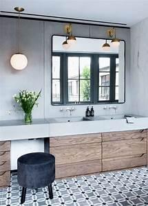 carreaux de ciment avec meuble salle de bain design double With salle de bain design avec magazine décoration intérieure