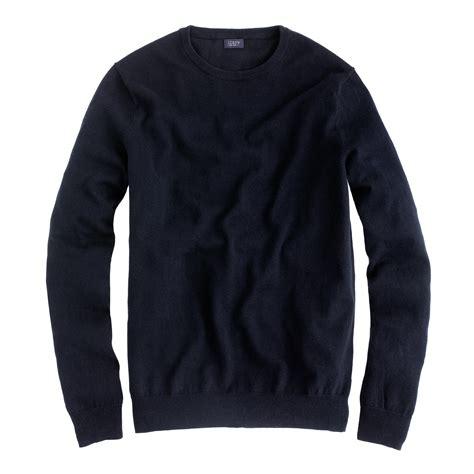 black sweater j crew slim cotton crewneck sweater in black for