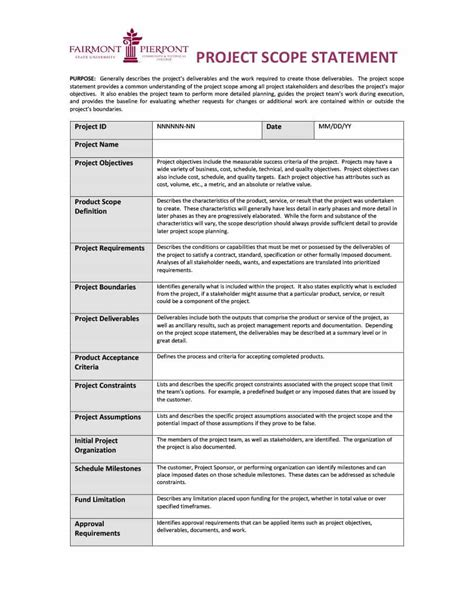 scope document 43 project scope statement templates exles template lab