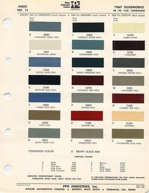 paint code on 1967 cutlass auto paint colors codes
