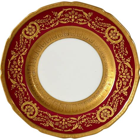 elegant english china cabinet plate deep red  gold
