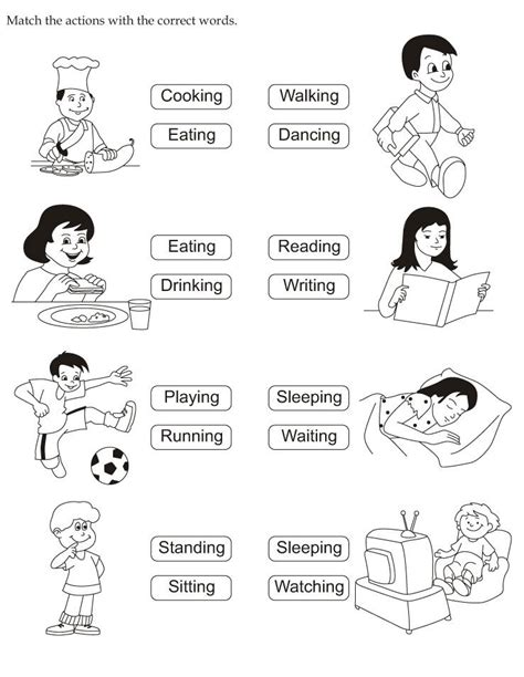 preschool action words worksheet  kindergarten
