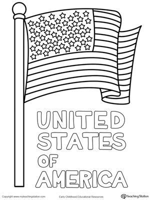united states  america flag coloring page drawing
