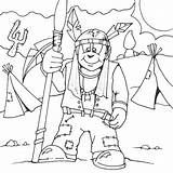 Coloring Spear Indian Indians Pages Printable sketch template