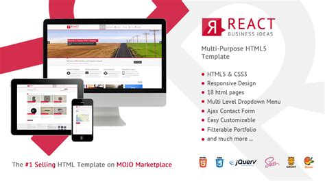 react template react multi purpose html5 template themes templates