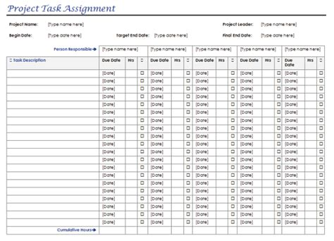 task assignment templates excel word  multiple