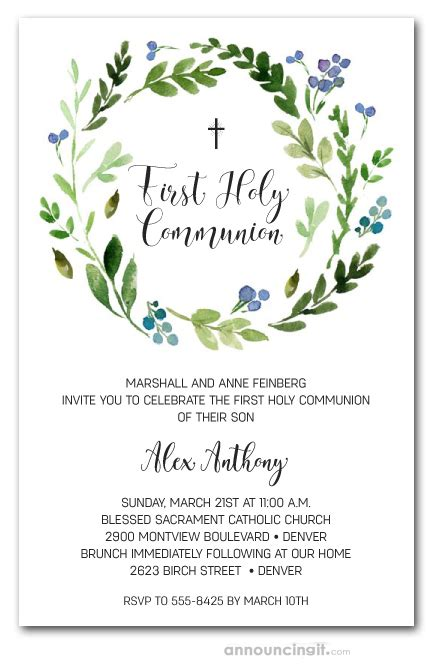 Blue Buds Wreath First Holy Communion Invitations