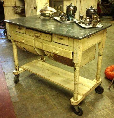 antique kitchen island table zinc top possum belly for an island furniture 4100