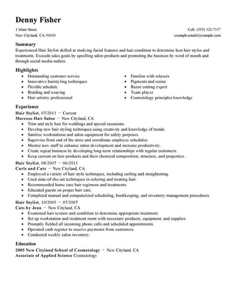 Resume For Hair Salon by Best Hair Stylist Resume Exle Livecareer