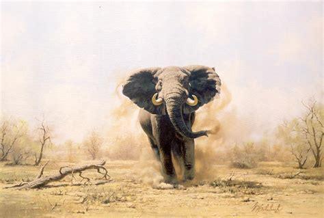 side table elephant paintings quot charging elephant quot elephants k k