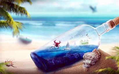 Beach Bottle Glass Sea Digital Dolphins Yacht