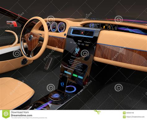 Stylish Electric Car Interior With Luxury Wood Pattern