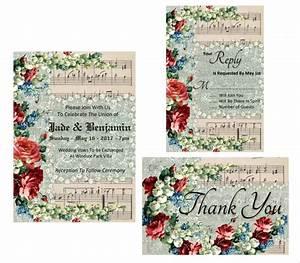 wedding invitation printable suite music score vintage With wedding invitation music free download