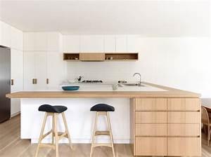 cuisine blanche plan de travail bois inspirations de deco With plan de travail bar cuisine