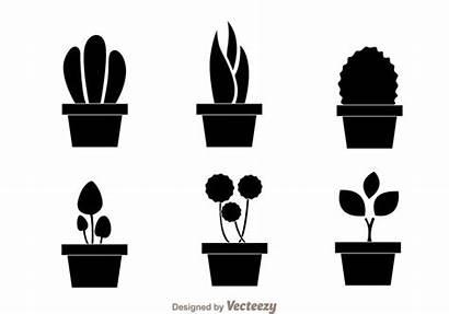 Silhouette Planter Cactus Pot Plant Vectors Vector