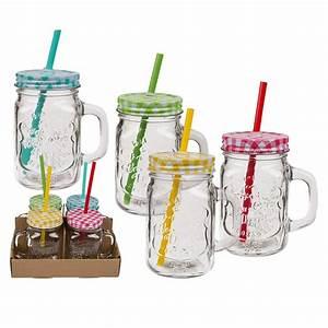 Mason Jar Paille : 4 bocaux en verre avec anse couvercle et paille ~ Teatrodelosmanantiales.com Idées de Décoration