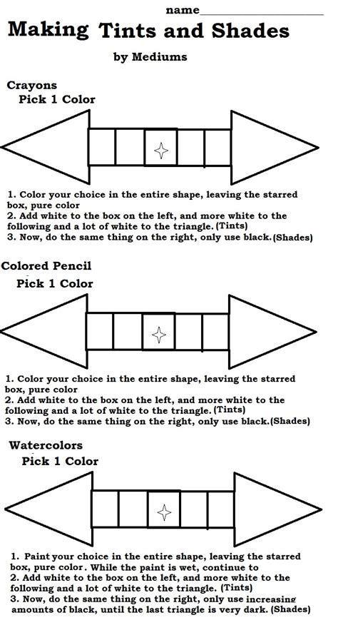 tints and shades worksheet the smartteacher resource tints and shades using 3 different mediums