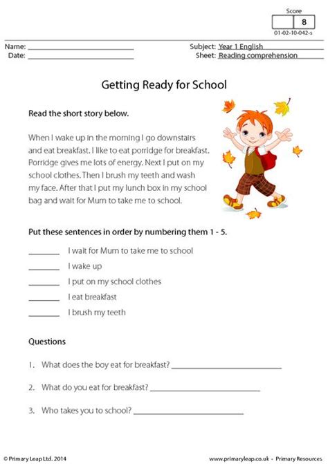 free comprehension worksheets for grade 1 free worksheets