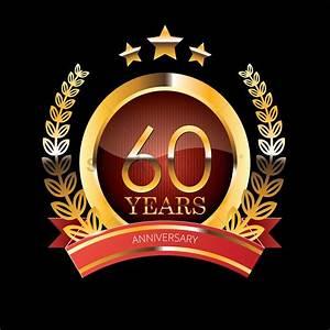 60 years anniversary label with ribbon vector image for 60 wedding anniversary symbol