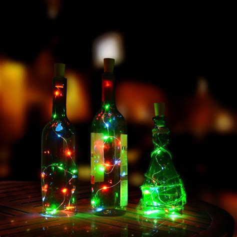 3x starry copper wire light string cork shaped led bottle