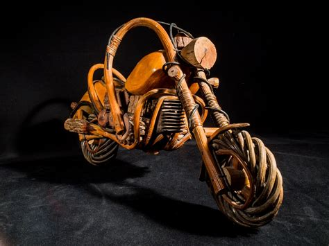 photo wooden motorcycle wood model  image