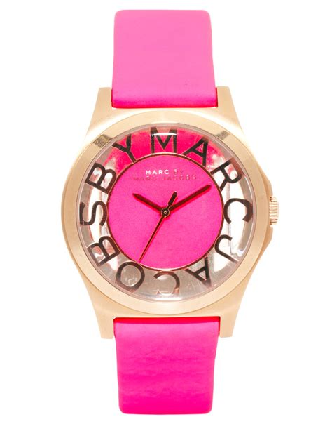 marc jacob pink marc by marc henry skeleton pink leather