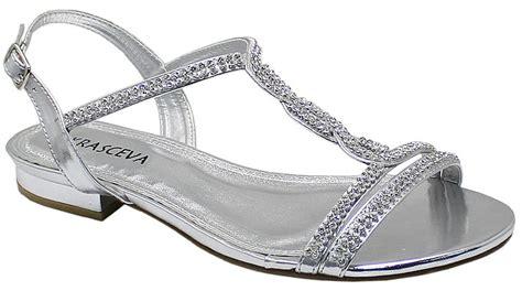 Wedding Sandals : Silver Diamante Flat Low Heel Prom Evening Wedding Shoes
