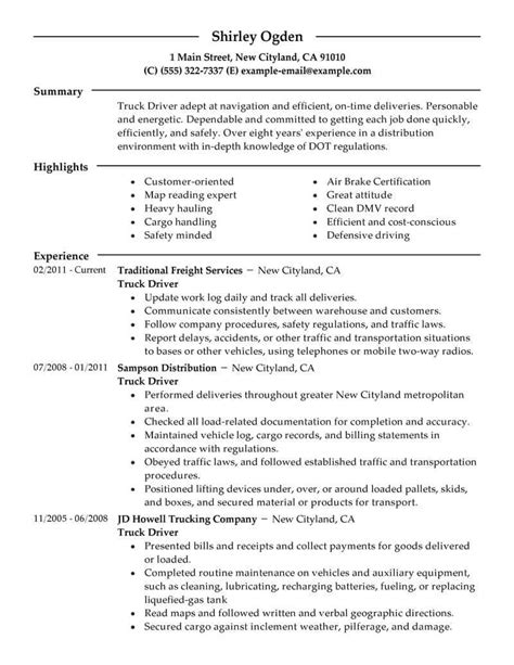 drive resume template best truck driver resume exle livecareer
