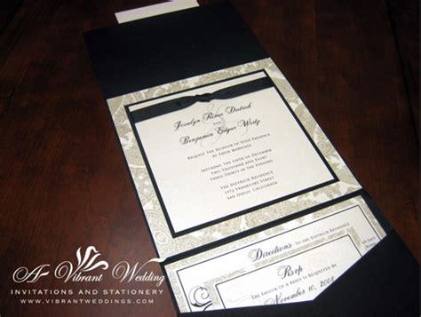 black  white traditional wedding invitation