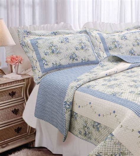 shabby chic blue quilted bedspread blue cottage garden full queen quilt set gingham shabby roses chic comforter ebay