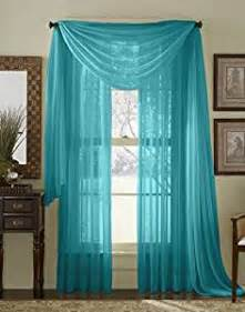 amazon com 84 quot long sheer curtain panel turquoise home