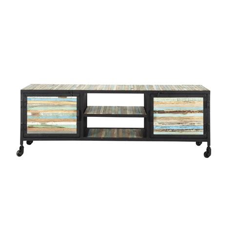 meuble tv roulettes meuble tv 224 roulettes en m 233 tal et bois noir l 140 cm bahia maisons du monde