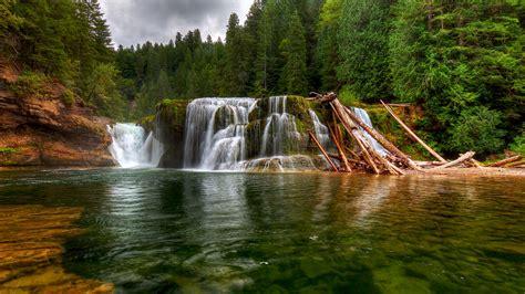 beautiful waterfall landscapes pinchot gifford forest waterfall beautiful landscape lower lewis river falls washington united