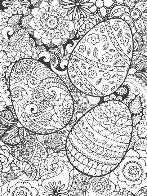 easter eggs and flowers coloring page stock vector