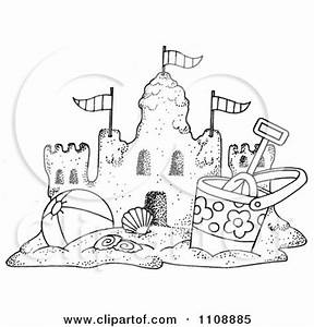 Clipart Black And White Beach Bucket And Ball By A Sand ...
