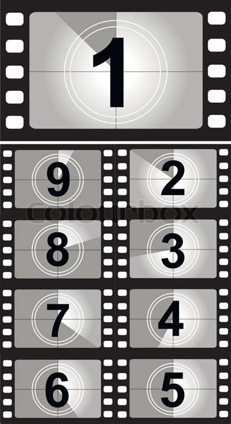film countdown zahlen vektorgrafik colourbox